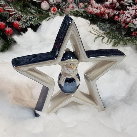 Keramická hviezda so snehuliakom