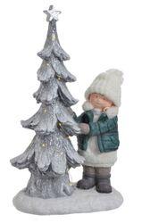 Keramické dievčatko so svietiacim stromčekom XL