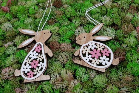 Set drevených zajačikov Flower 2ks