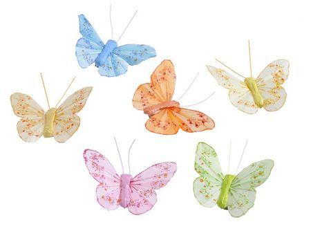 Set motýlikov na štipčeku 6ks mix